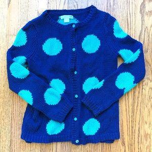Fun Garnet Hill Polk-Dot Cardigan Sweater, sz 8-10